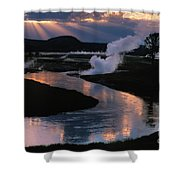 Reflections On The Firehole River Shower Curtain