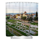 Remains Of The Roman Agora And Cityscape Of  Athens, Greece Shower Curtain