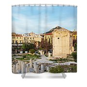 Remains Of The Roman Agora And Tower Of The Winds In Athens Shower Curtain
