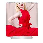 Retro Blond Pinup Woman Wearing A Red Dress Shower Curtain