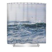 Reynisfjara Seagull Over Crashing Waves Shower Curtain