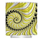 Ribbed Yellow Spiral Shower Curtain