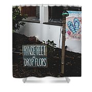 Rinse Feet And Drop Flops Shower Curtain