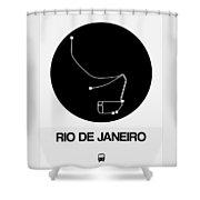 Rio De Janeiro Black Subway Map Shower Curtain