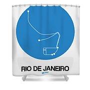 Rio De Janeiro Blue Subway Map Shower Curtain