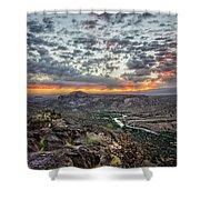Rio Grande River Sunrise 2 - White Rock New Mexico Shower Curtain