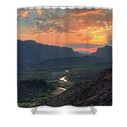 Rio Grande River Sunset Shower Curtain