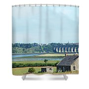 river and bridge towards Berwick upon Tweed scotland Shower Curtain