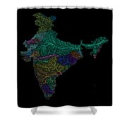 River Basins Of India In Rainbow Colours Shower Curtain