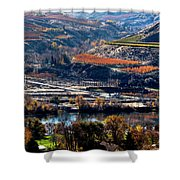River, Canyon And Slopes Shower Curtain