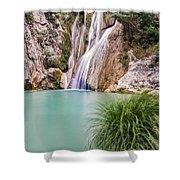 River Neda Waterfalls Shower Curtain