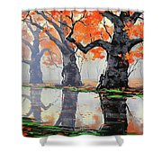 Riverside Trees Shower Curtain