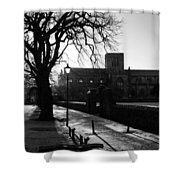 riverside walk in Haddington on winters morning Shower Curtain