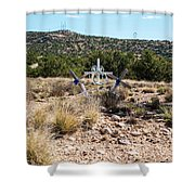 Roadside Memorial With Five Crosses Shower Curtain