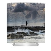 Rock Ledge, Spear Fishermen And Cloudy Seascape Shower Curtain