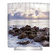 Rocky Beach At Sunset Shower Curtain by Brian Jannsen