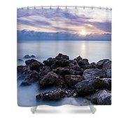 Rocky Beach At Sunset II Shower Curtain by Brian Jannsen