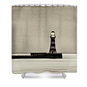 Roker Pier And Lighthouse In Sepia Shower Curtain