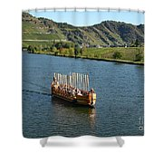 Roman Warship On The Mosel Shower Curtain by PJ Boylan