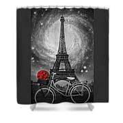 Romance At The Eiffel Tower Shower Curtain