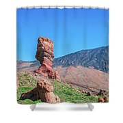 Roque Cinchado In Front Of Mount Teide Shower Curtain