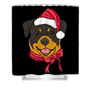 Rotweiler Xmas Hat Dog Pet Lover Christmas Shower Curtain
