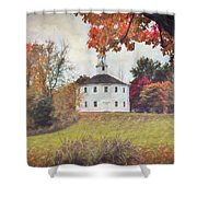 Round Church In Vermont Autumn Shower Curtain by Jeff Folger