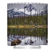 Round Lake Reflection Shower Curtain