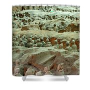 Rows Of Terra Cotta Warriors In Pit 1 Shower Curtain
