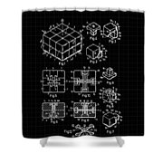Rubik's Cube Patent 1983 - Black And White Shower Curtain by Marianna Mills