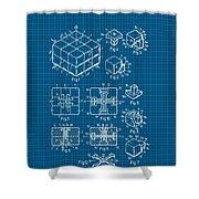 Rubik's Cube Patent 1983 - Blueprint Shower Curtain by Marianna Mills