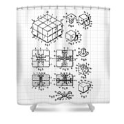 Rubik's Cube Patent 1983 Shower Curtain by Marianna Mills