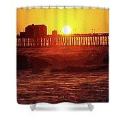 Ruby Sunset Oceanside Pier Shower Curtain