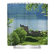 ruins of castle Urquhart on loch Ness Shower Curtain