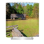 Rustic Double Crib Barn And Split Rail Fence In Cades Cove Shower Curtain