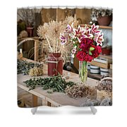 Rustic Wooden Table With Various Herbs And Flowers Shower Curtain