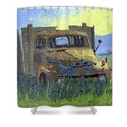 Rusty Sunrise Shower Curtain by David King