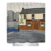 Ryans Pub And Swords Castle Painting Shower Curtain