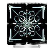 Sacred Circle Design In Blues And White Shower Curtain