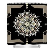 Sacred Circle Design In Gold, Cream And White Shower Curtain