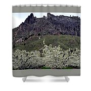 Saddle Rock And Apple Blooms Shower Curtain