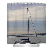 Sailboat In The Bay Area Shower Curtain