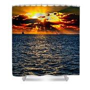 Sailboat Sunburst Shower Curtain