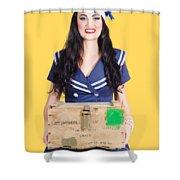 Sailor Pin Up Holding Nautical Supplies Shower Curtain