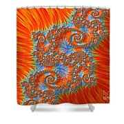 Saint Georges Vanquished Dragon Fractal Abstract Shower Curtain by Rose Santuci-Sofranko