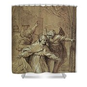 Saint Gregory Praying For Souls In Purgatory  Shower Curtain