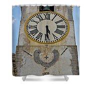 Saint Mary Church Clock Tower In Tavira. Portugal Shower Curtain