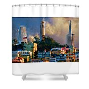 Salesforce Tower Coit Tower Transamerica Pyramid Shower Curtain