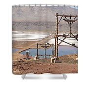 Salt Pans And 200 Yr Old Cable Car Winches Shower Curtain