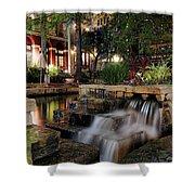 San Antonio Riverwalk Waterfall - Christmas - Texas Shower Curtain by Jason Politte